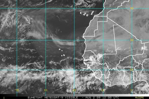 Visible satellite view of the eastern Atlantic
