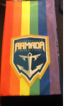 A scarf that was a give-away on the Armada's Pride Night, roughly one month before the Orlando City match. In the wake of the Pulse nightclub shootings, Armada fans who managed to snag one of these (plus one of the limited number of tickets to the match) wore it to the game. After the match, an Orlando City fan offered to trade his scarf for this one; an offer I selfishly declined.